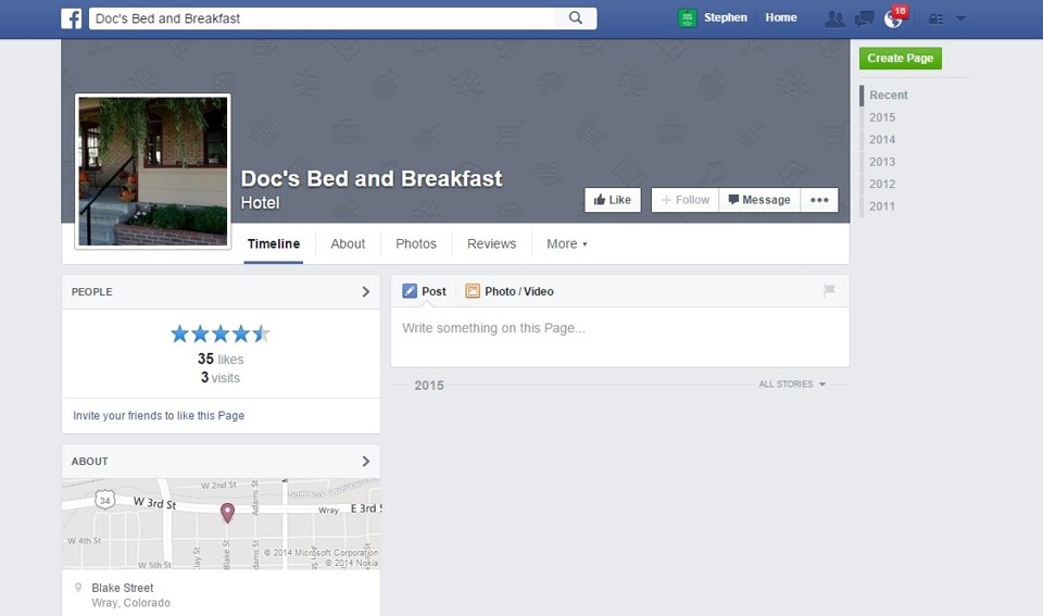 Facebook Docs Bed and Breakfast